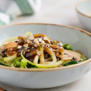 Keto Recipe - Sesame Almond Zoodle Bowl