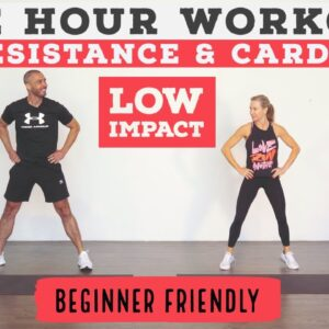 1 HOUR TOTAL body resistance and cardio workout/Low Impact//standing & no equipment options